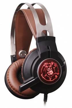 Наушники с микрофоном A4 Bloody G430 черный / коричневый