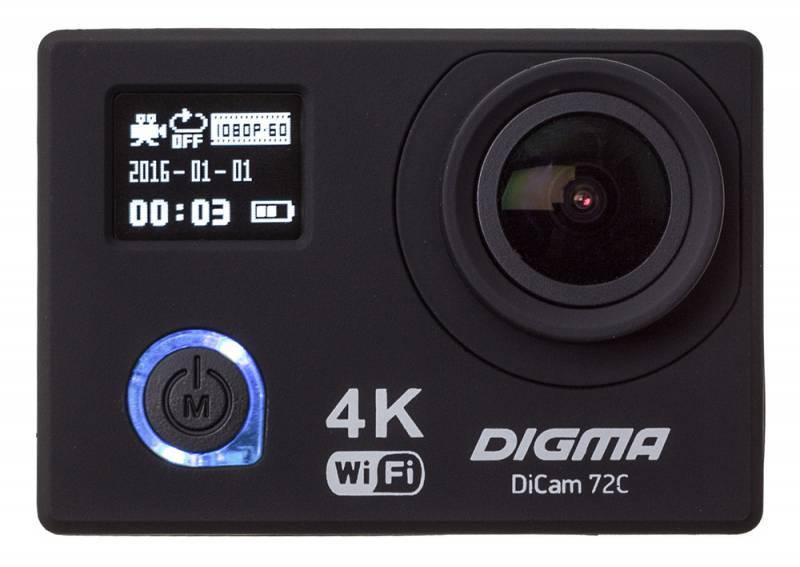 Экшн-камера Digma DiCam 72C черный (DC72C) - фото 2