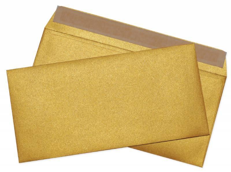 Конверт Cocktail 52120MG.1 E65 110x220мм золотистый металлик силиконовая лента 120г/м2 (pack:1pcs) - фото 1