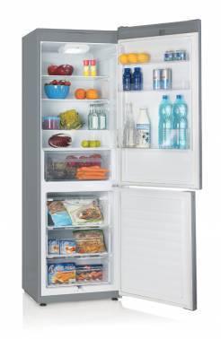 Холодильник Candy CKBS 6180 S серебристый, двухкамерный, размораживание холодильной камеры: автоматическое, размораживание морозильной камеры: ручное