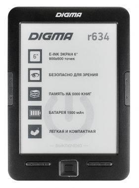 Электронная книга 6 Digma R634 черный
