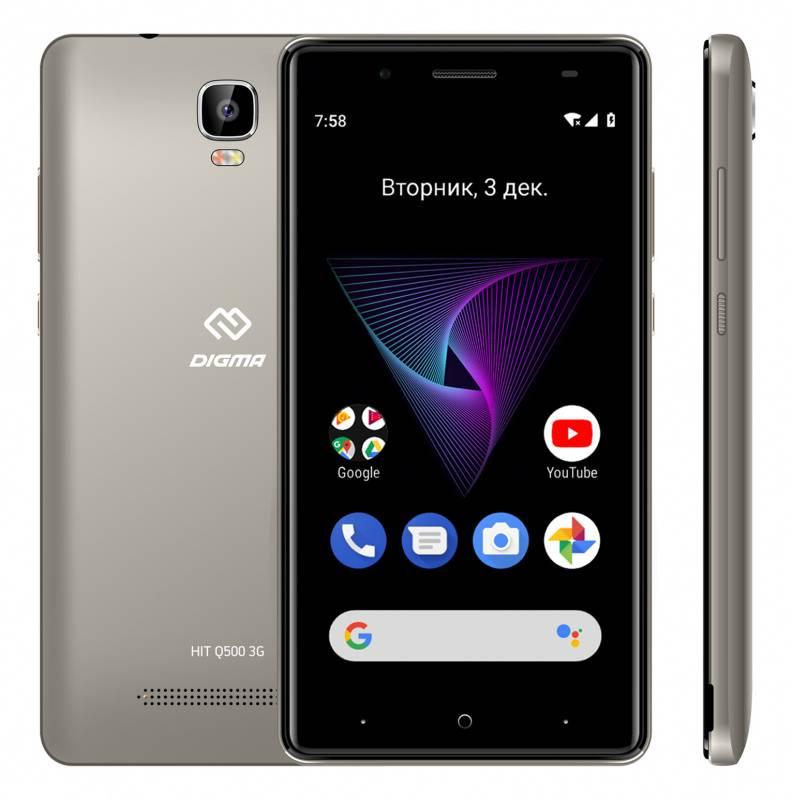Смартфон Digma HIT Q500 3G 8ГБ серый (HT5035PG) - фото 4