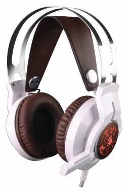Наушники с микрофоном A4 Bloody G430 белый/коричневый, стерео, мониторы, крепление оголовье, проводные, кабель 2.2м, одностороннее подключение кабеля