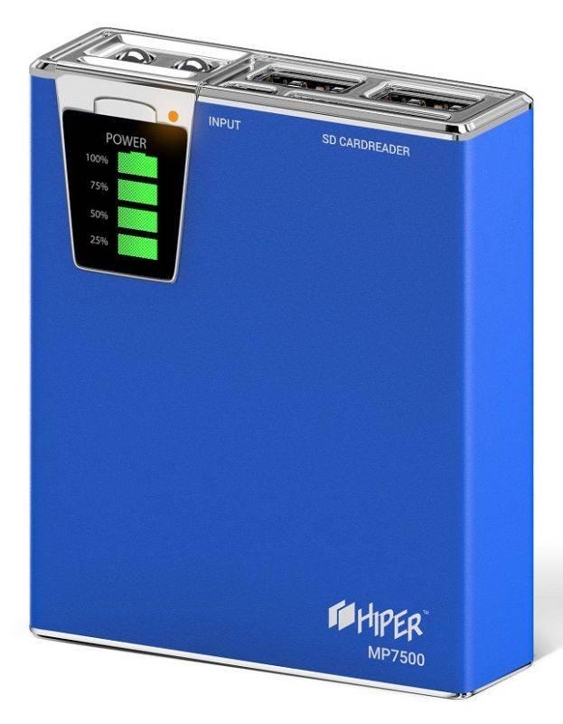 Мобильный аккумулятор HIPER MP7500 синий (MP7500 BLUE) - фото 1