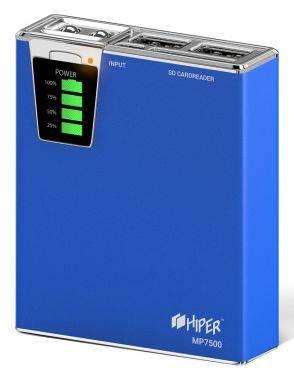 Мобильный аккумулятор HIPER MP7500 синий (MP7500 BLUE)