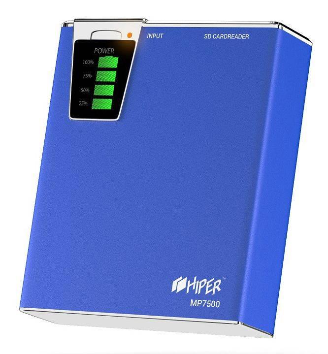 Мобильный аккумулятор HIPER MP7500 синий (MP7500 BLUE) - фото 2