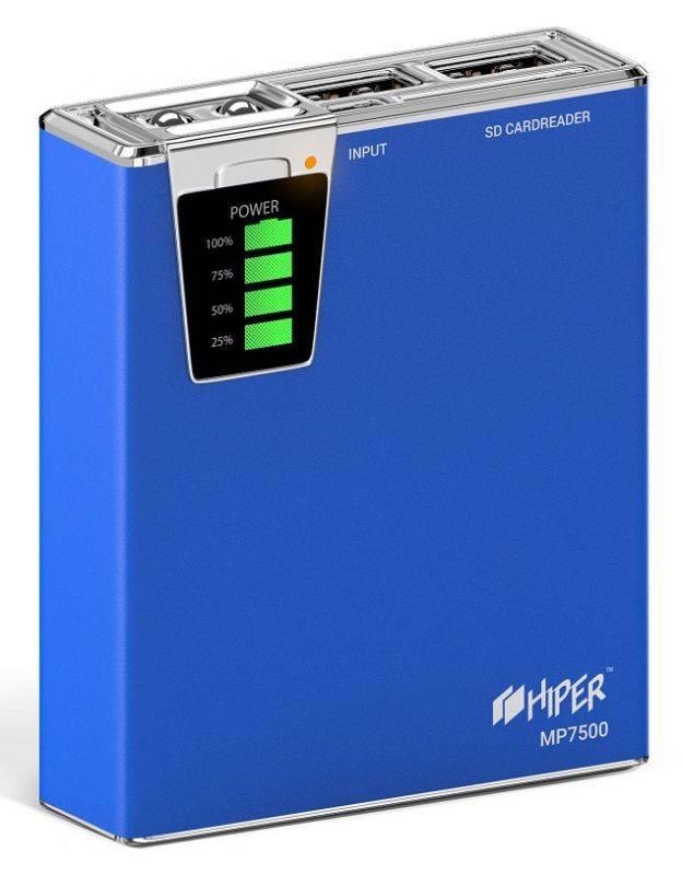 Мобильный аккумулятор HIPER MP7500 синий (MP7500 BLUE) - фото 3