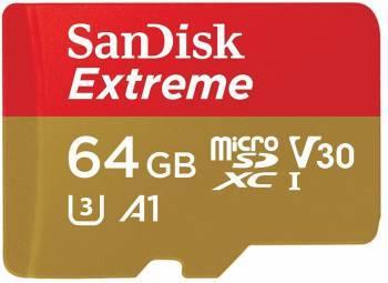Карта памяти microSDHC 64Gb Class10 Sandisk Extreme SDSQXAF-064G-GN6MA