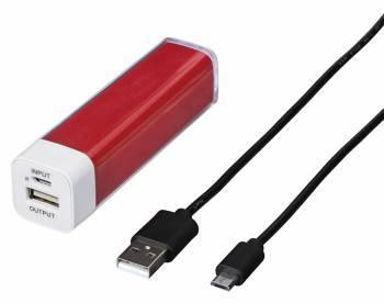Мобильный аккумулятор HAMA H-137481 красный, емкость батареи 2600mAh Li-Ion, USB разъемов 1, сила тока на выходе 1A