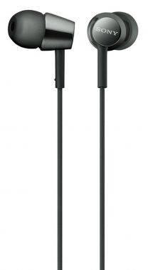 Наушники Sony MDR-EX155 черный, вкладыши, крепление в ушной раковине, проводные, Г-образный коннектор, кабель 1.2м (MDREX155B.E)