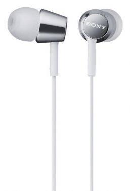 Наушники Sony MDR-EX155 белый, вкладыши, крепление в ушной раковине, проводные, Г-образный коннектор, кабель 1.2м (MDREX155W.E)