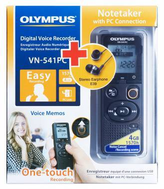Диктофон 4Gb Olympus VN-541PC + E39 Earphones черный