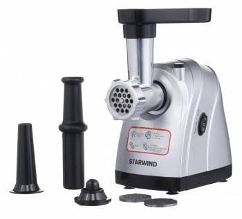 Мясорубка Starwind SMG4485 серебристый, мощность 1800Вт, производительность до 2.2кг/мин, дисков для фарша 3, материал лотка пластик