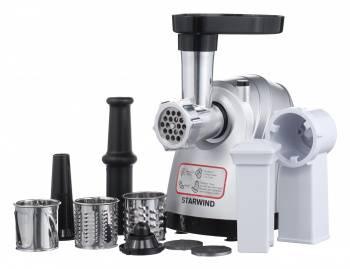 Мясорубка Starwind SMG5485 серебристый, мощность 1800Вт, производительность до 2.2кг/мин, дисков для фарша 3, материал лотка пластик