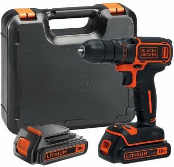 Дрель-шуруповерт Black & Decker BDCDC18K1B-QW, патрон: быстрозажимной, питание от аккумулятора Li-Ion 18В, (кейс в комплекте)