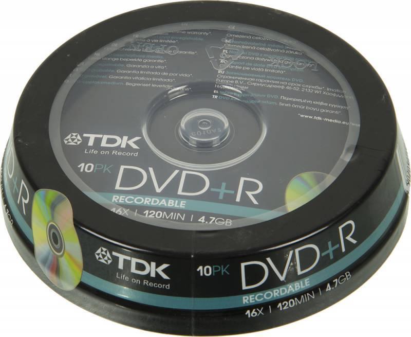 Диск DVD+R TDK 4.7Gb 16x (10шт) (T19442) - фото 1