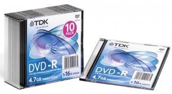 Диск DVD-R TDK 4.7Gb 16x (10шт) (T19420)