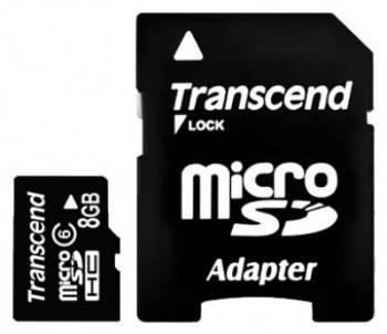 Карта памяти microSDHC 8Gb Class6 Transcend TS8GUSDHC6
