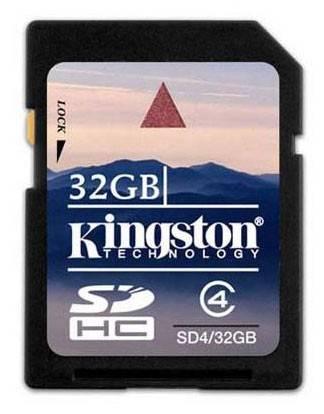 Карта памяти SDHC 32Gb Class4 Kingston SDV/32GB - фото 1