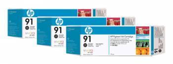 Тройная упаковка картриджей HP 91 фото черный (C9481A)