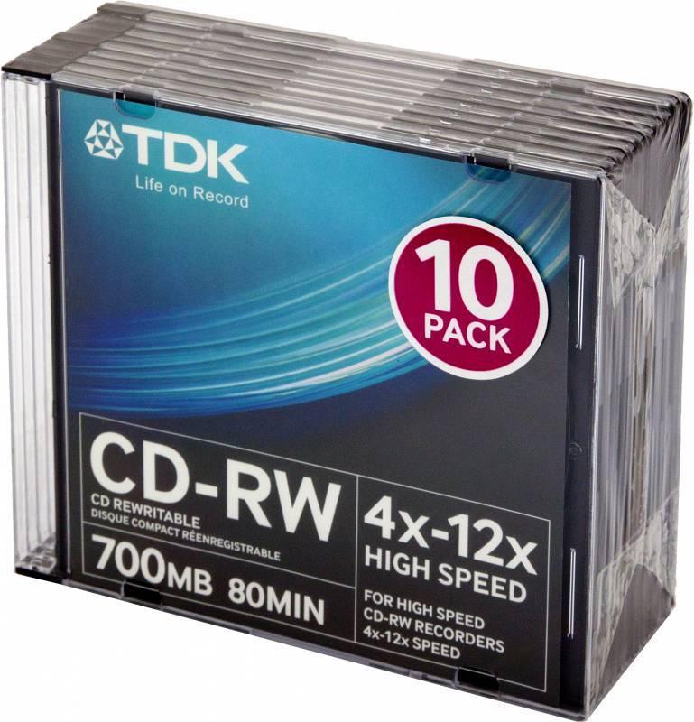 Диск CD-RW TDK 700Mb 12x (10шт) (T18792) - фото 1