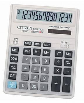 Калькулятор бухгалтерский Citizen SDC-740N темно-серый