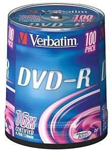 Диск DVD-R Verbatim 4.7Gb 16x (100шт) (43549)