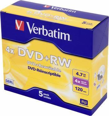 Диск DVD+RW Verbatim 4.7Gb 4x (5шт) (43229)