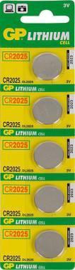 Батарея CR2025 GP Lithium CR2025 (5шт. уп)