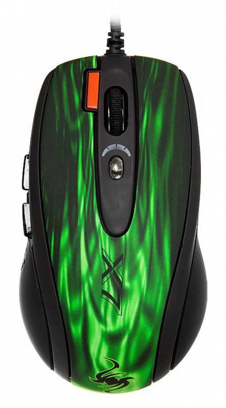 Мышь A4 XL-750BK зеленый/черный - фото 1