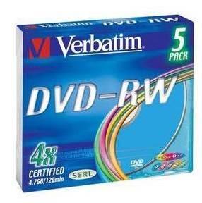 Диск DVD-RW Verbatim 4.7Gb 4x (5шт) (43563)