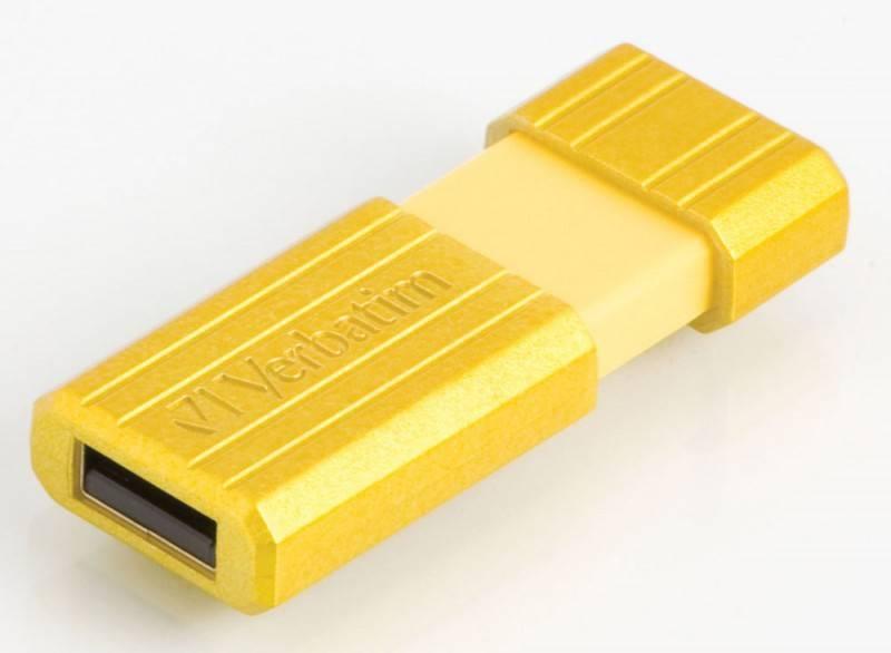 Флеш диск 4Gb Verbatim PinStripe 47390 USB2.0 желтый - фото 2