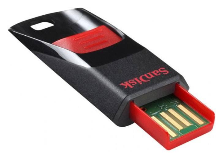 Флеш диск 4Gb Sandisk Cruzer Edge USB2.0 черный/красный - фото 1