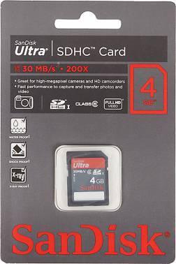 Карта памяти SDHC 4Gb Class6 Sandisk Ultra SDSDH-004G-U46