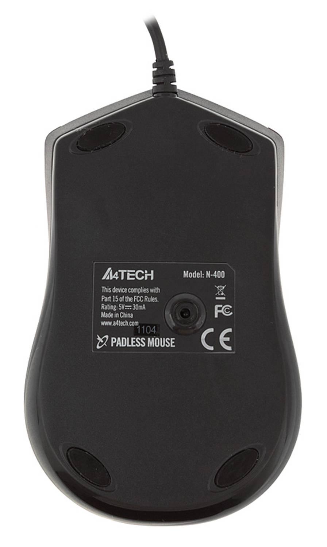 Мышь A4 V-Track Padless N-400-2 черный/красный - фото 2