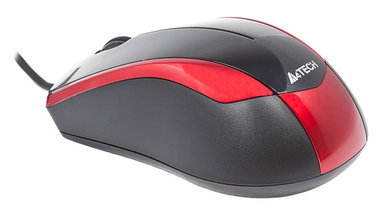 Мышь A4 V-Track Padless N-400-2 черный/красный - фото 4