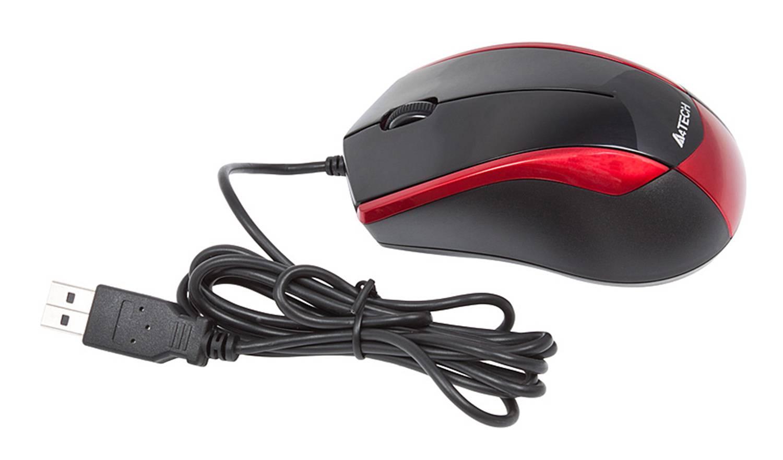 Мышь A4 V-Track Padless N-400-2 черный/красный - фото 8