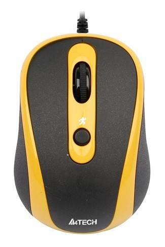 Мышь A4 N-250X желтый - фото 1