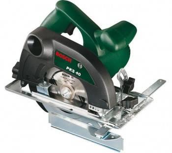 Циркулярная пила (дисковая) Bosch PKS 40, ручная, мощность 600Вт, 4200об/мин, диаметр диска 130 мм, глубина пропила до 40мм