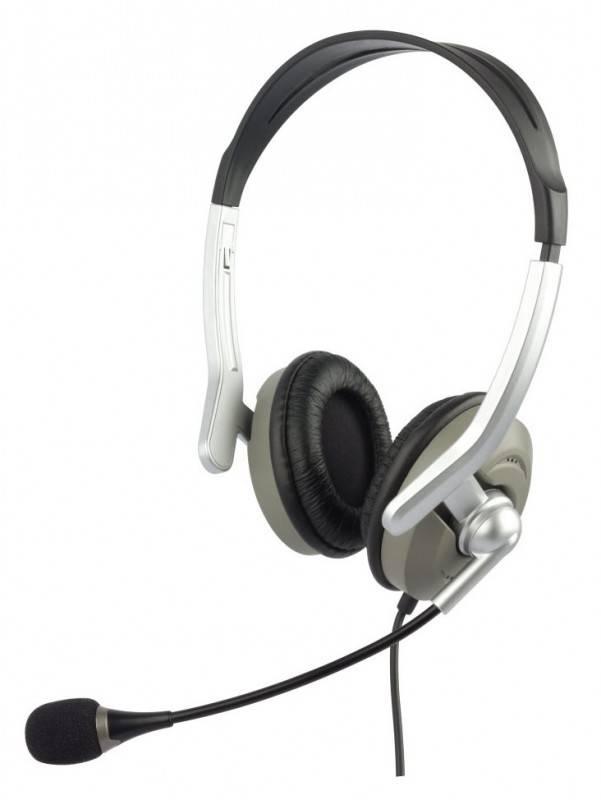 Наушники с микрофоном Oklick HS-M146V серебристый/серый - фото 1