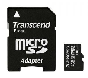 Карта памяти microSDHC 4Gb Class10 Transcend (TS4GUSDHC10)