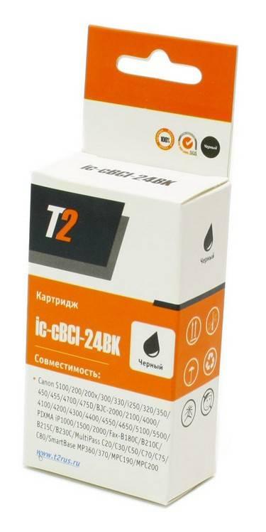 Картридж струйный T2 BCI-24BK IC-CBCI-24BK черный - фото 1
