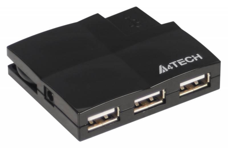 Разветвитель USB 2.0 A4 HUB-57 черный - фото 1