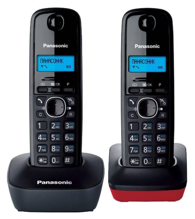 Телефон Panasonic KX-TG1612RU3 темно-серый/красный - фото 1