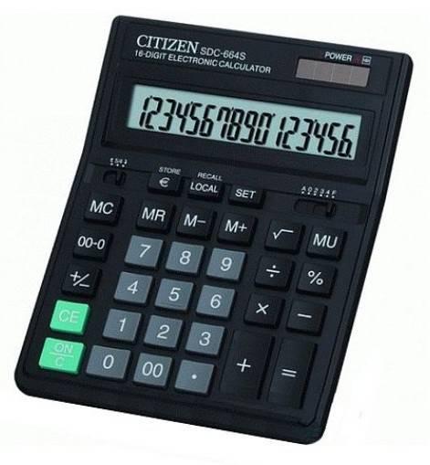 Калькулятор бухгалтерский Citizen SDC-664S черный 16-разр. - фото 1