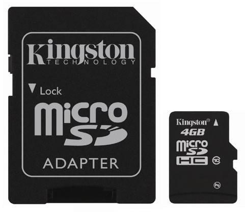 Карта памяти microSDHC 4Gb Class10 Kingston SDC10/4GB - фото 1