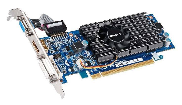 Видеокарта Gigabyte GeForce 210, GV-N210D3-1GI 1024 МБ (GV-N210D3-1GI) - фото 1