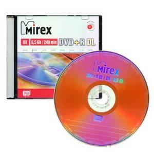 Диск DVD+R Mirex 8500 Gb 8x Dual Layer двухслойный Slim case 1 шт