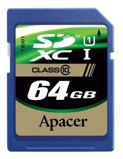 Карта памяти SDXC 64Gb Class10 Apacer AP64GSDXC10-R - фото 1