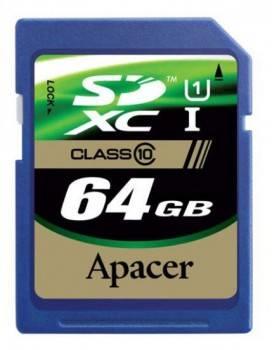 Карта памяти SDXC 64Gb Class10 Apacer AP64GSDXC10-R